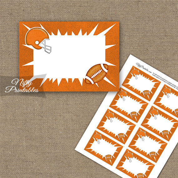 Orange Football Blank Labels