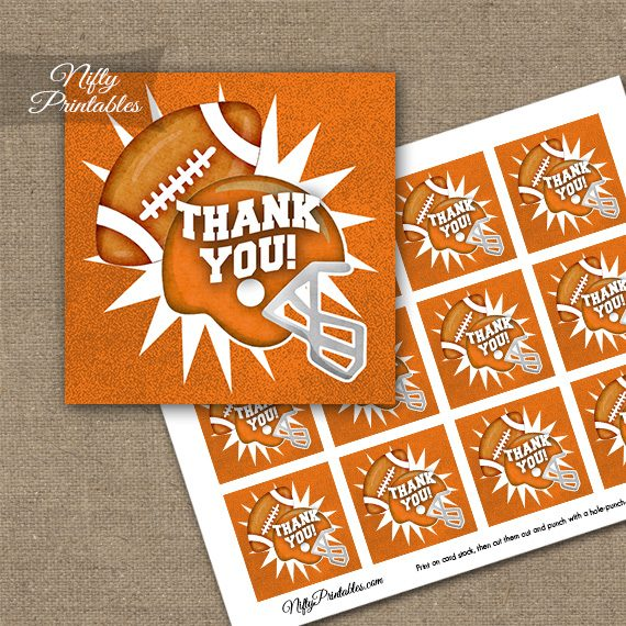Orange Football Thank You Favor Tags