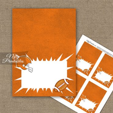 Orange Football Folded Tent Place Cards