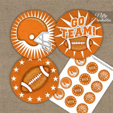 Orange Football Cupcake Toppers