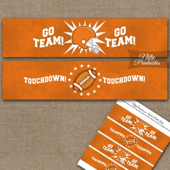 Orange Football Water Bottle Labels