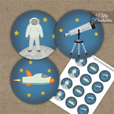 Outer Space Birthday Cupcake Toppers