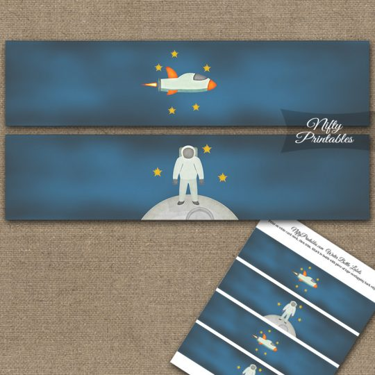 Outer Space Birthday Water Bottle Labels