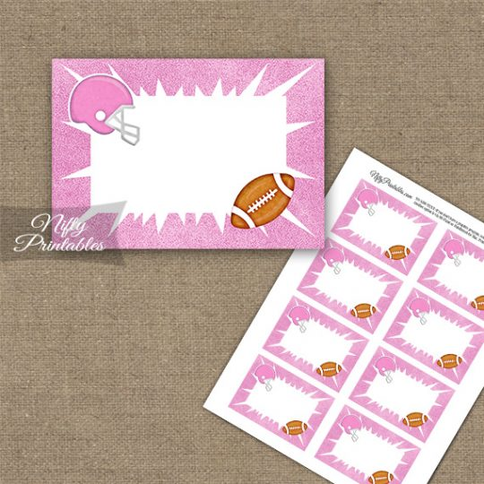 Pink Football Blank Labels