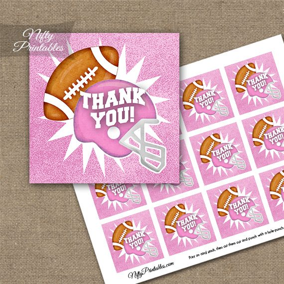 Pink Football Thank You Favor Tags