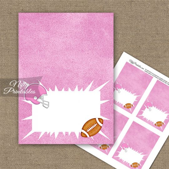 Pink Football Folded Tent Place Cards