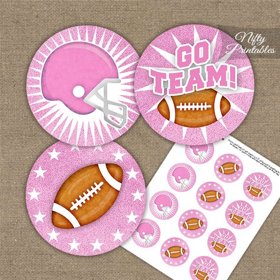 Pink Football Cupcake Toppers