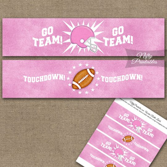 Pink Football Water Bottle Labels