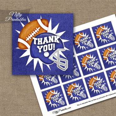 Purple Football Thank You Favor Tags