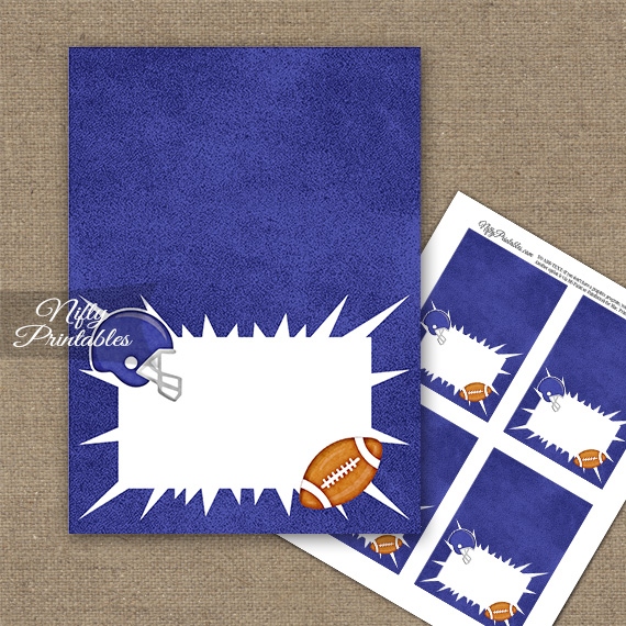 Purple Football Folded Tent Place Cards