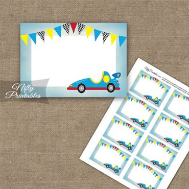 Race Car Birthday Blank Labels