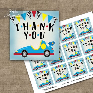 Race Car Birthday Thank You Favor Tags