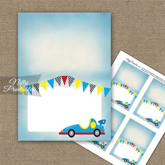 Race Car Birthday Folded Tent Place Cards