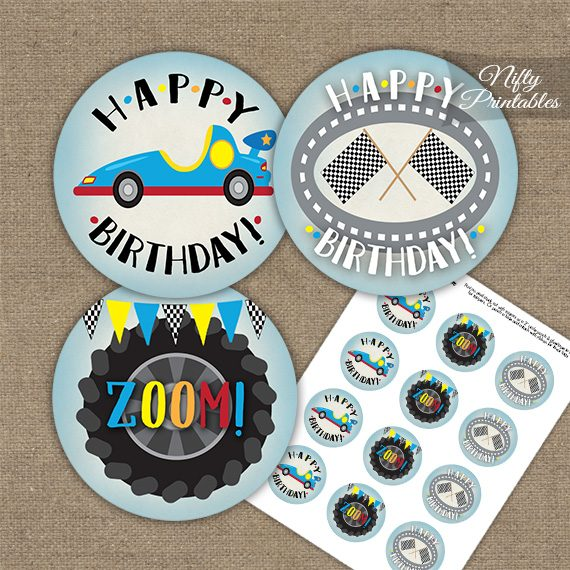 Race Car Birthday Cupcake Toppers