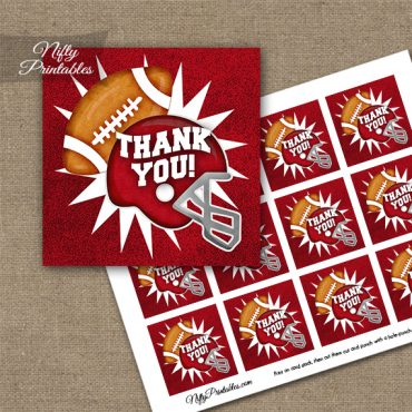 Red Football Thank You Favor Tags