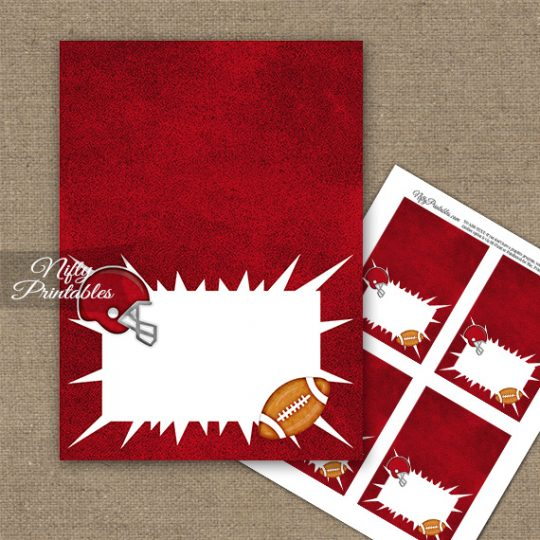 Red Football Folded Tent Place Cards