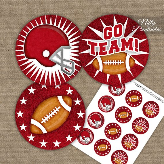 Red Football Cupcake Toppers