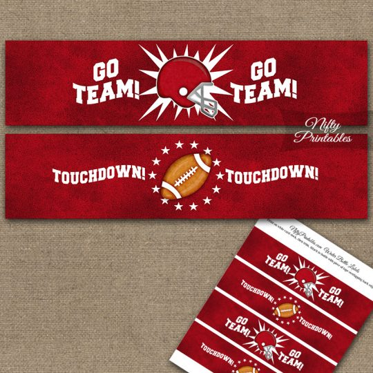 Red Football Water Bottle Labels