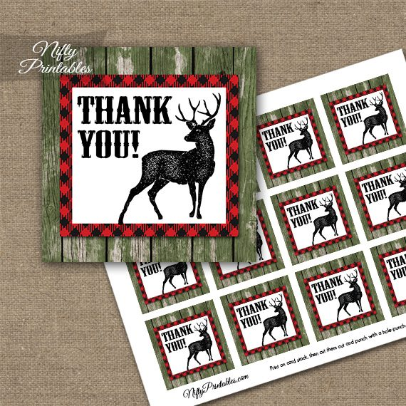 Rustic Woodland Forest Animals Thank You Favor Tags