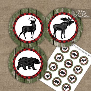 Rustic Woodland Forest Animals Cupcake Toppers