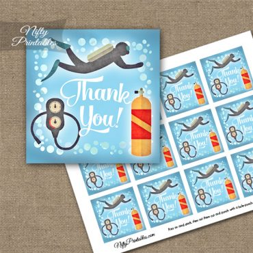 Scuba Diving Thank You Favor Tags