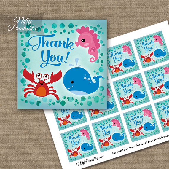 Under The Sea Birthday Thank You Favor Tags