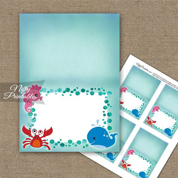 Under The Sea Birthday Folded Tent Place Cards