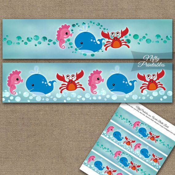 Under The Sea Birthday Water Bottle Labels