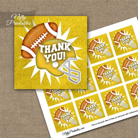 Yellow Football Thank You Favor Tags