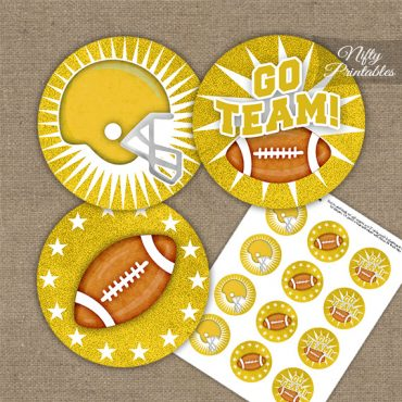 Yellow Football Cupcake Toppers