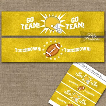 Yellow Football Water Bottle Labels