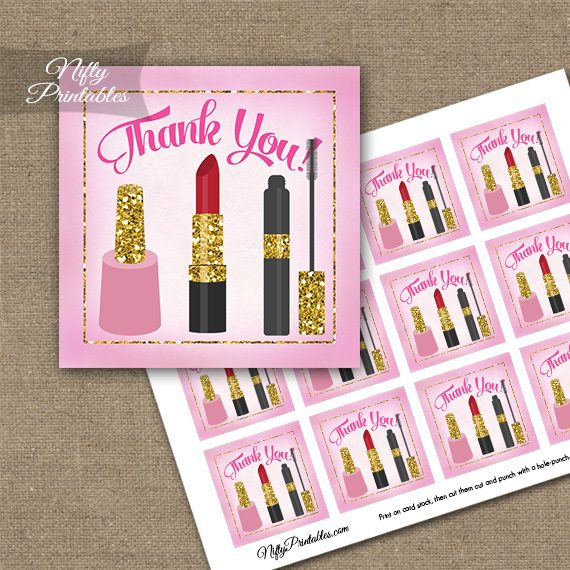 Makeup Cosmetics Spa Party Thank You Favor Tags