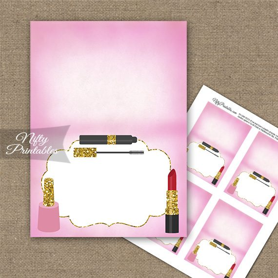 Makeup Cosmetics Spa Party Folded Tent Place Cards