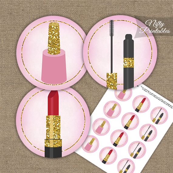 Makeup Cosmetics Spa Party Cupcake Toppers