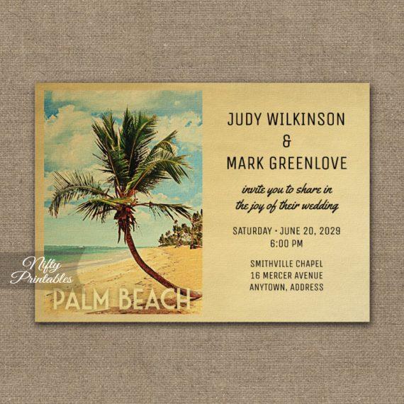Palm Beach Wedding Invitation Palm Tree PRINTED