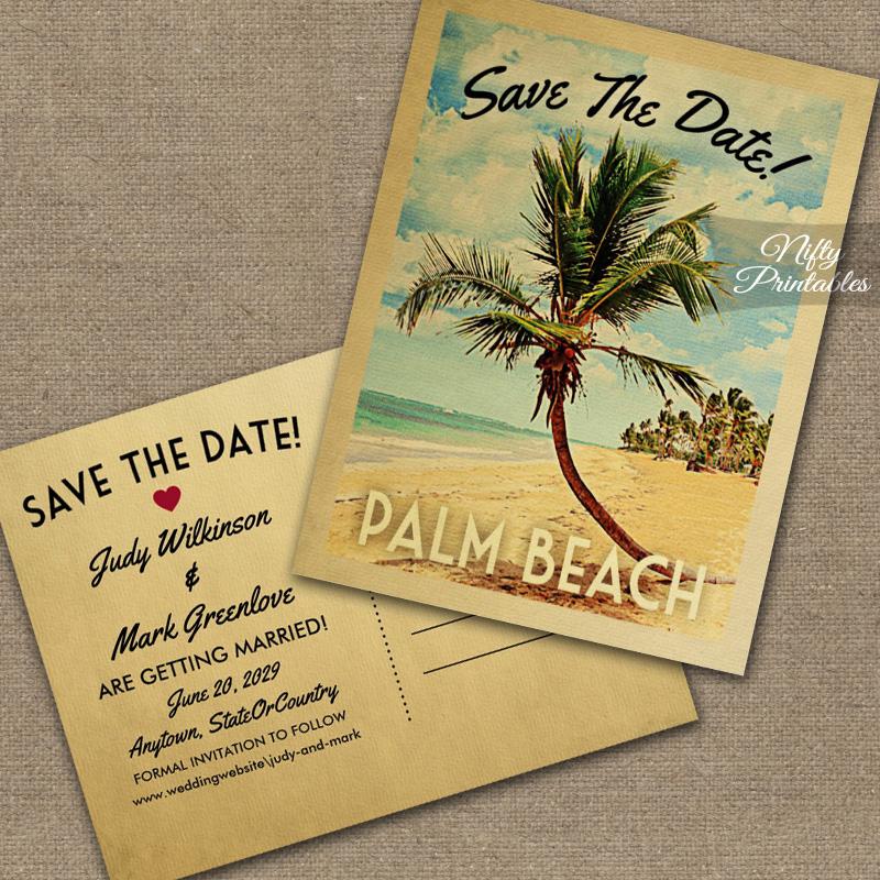 Palm Beach Save The Date Palm Tree PRINTED