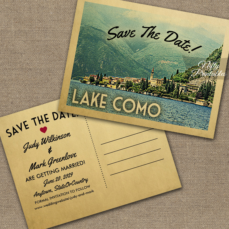 Lake Como Italy Save The Date PRINTED