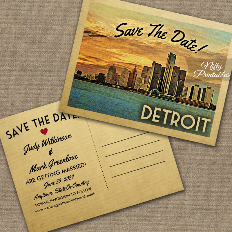 Detroit Michigan Save The Date PRINTED