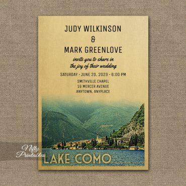 Lake Como Italy Wedding Invitation PRINTED