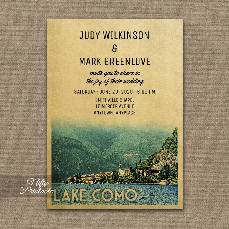Lake Como Italy Wedding Invitation PRINTED