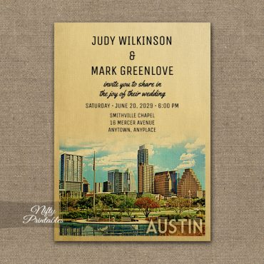 Austin Texas Wedding Invitation PRINTED