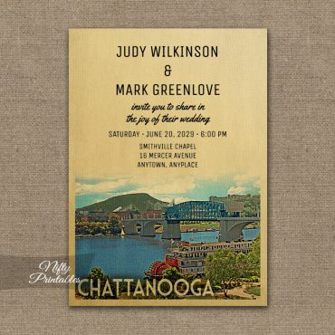Chattanooga Tennessee Wedding Invitation PRINTED