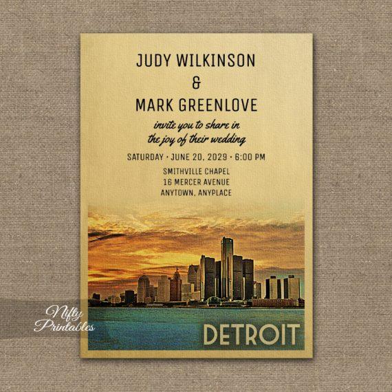 Detroit Michigan Wedding Invitation PRINTED