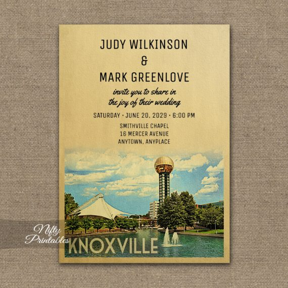 Knoxville Tennessee Wedding Invitation PRINTED