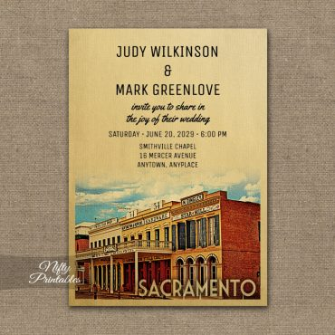 Sacramento California Wedding Invitation PRINTED