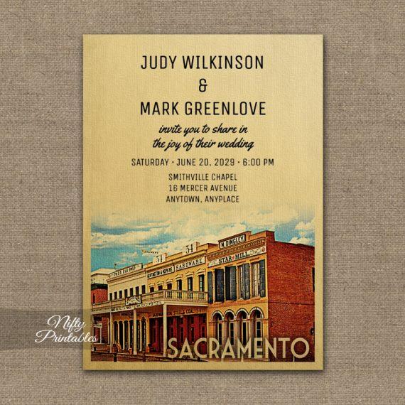 Sacramento California Wedding Invitation PRINTED