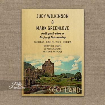 Scotland Wedding Invitation Eilean Donan Castle PRINTED