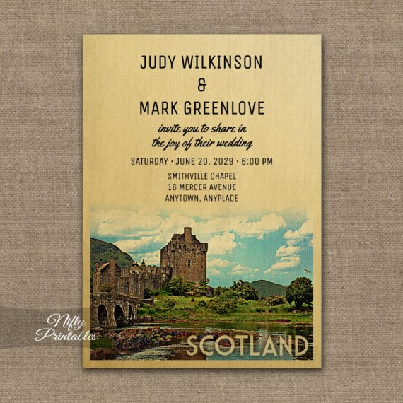 Scotland Wedding Invitation Eilean Donan Castle PRINTED