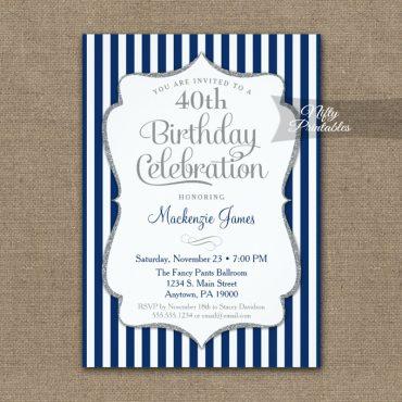 Birthday Invitation Navy Silver Elegant Stripes PRINTED