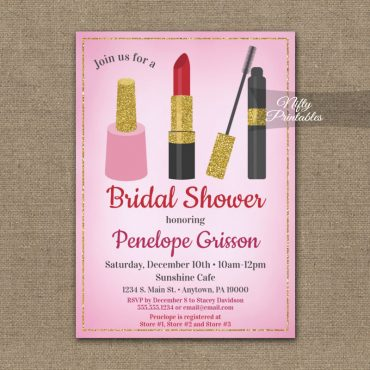 Bridal Shower Invitation Makeup Beauty Cosmetics PRINTED